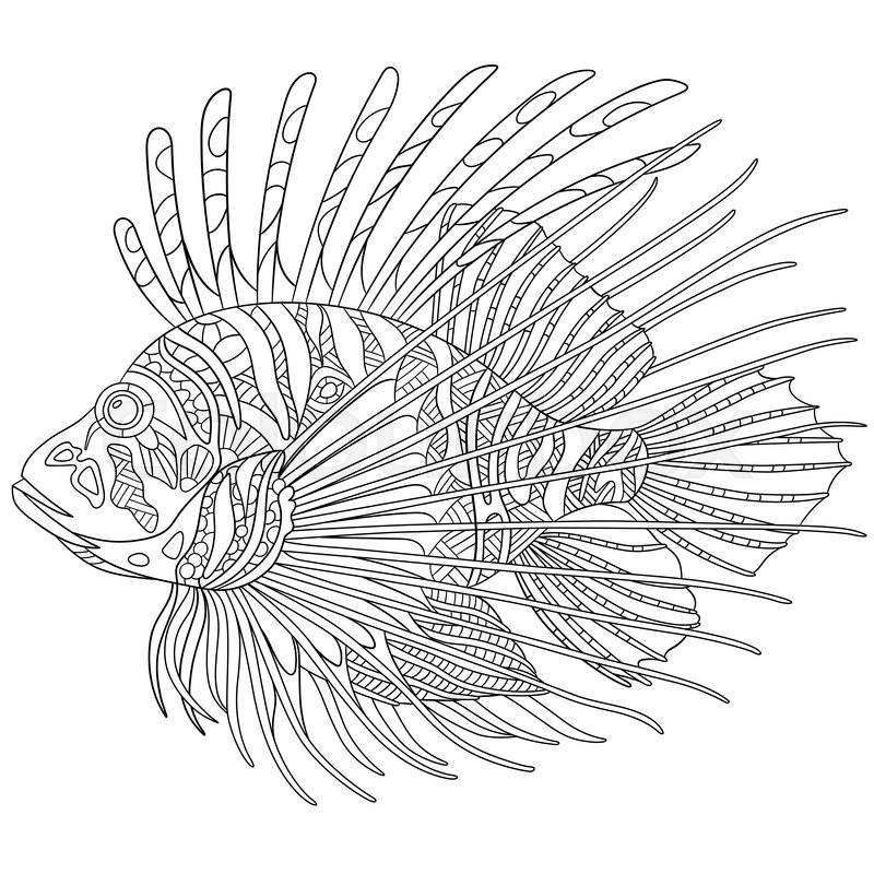 Zentangle stylized cartoon zebrafish