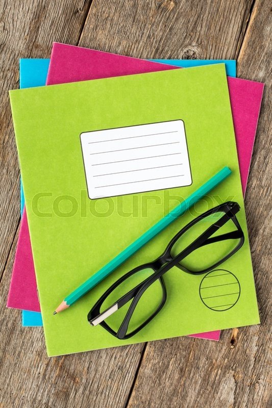 Colored exercise books,pencil and     | Stock image | Colourbox