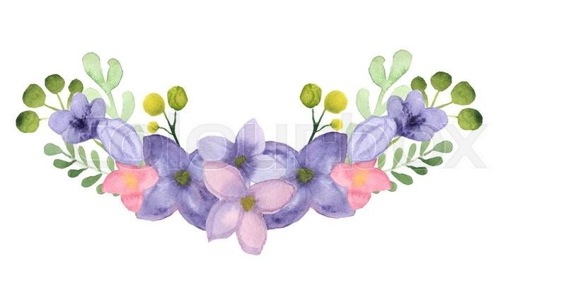 Atercolor Lilac Laurel Clip Art, stock photo