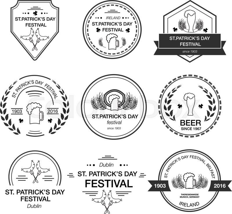 Vector collection of irish hand drawn logo templates for Irish mail cart plans