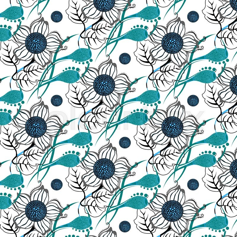 Repeating Modern Floral Background Pattern. Flower Vector Pattern, Vector