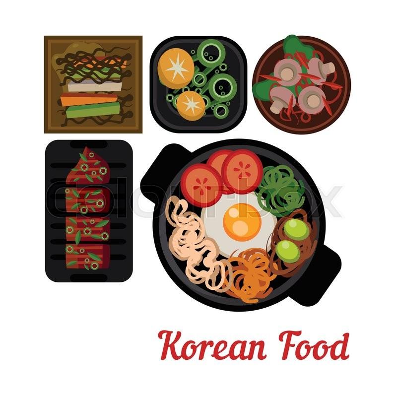 Cuisine Illustration food illustration korean food vector illustration. dishes in plates
