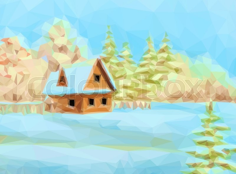 Winter Christmas Landscape Rustic House On Snowy Forest Edge Low Poly Vector