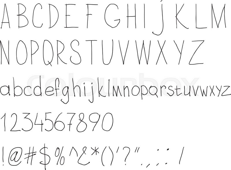 Simple sloppy handwriting. Alphabet for daily fill of papers ...