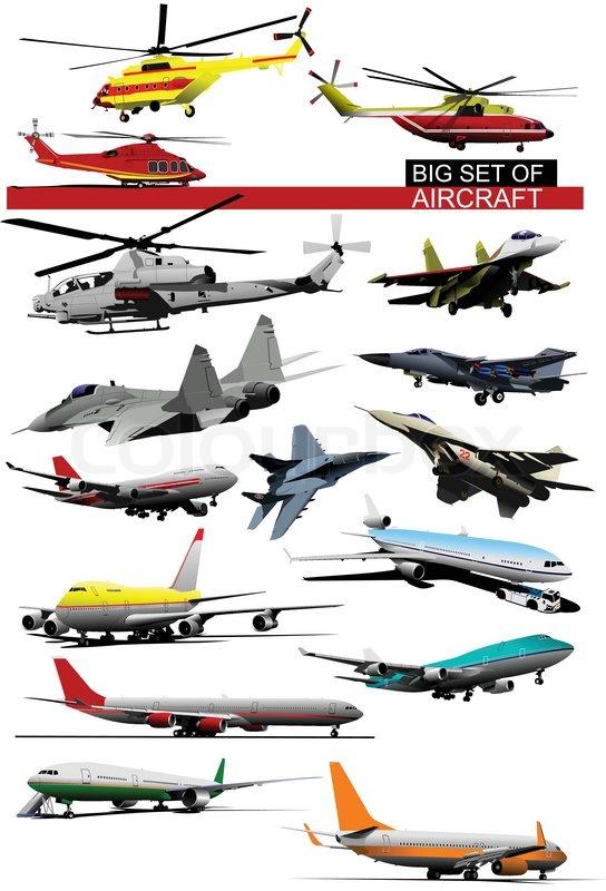 Big Set Of Aircraft Vector Stock Vector Colourbox