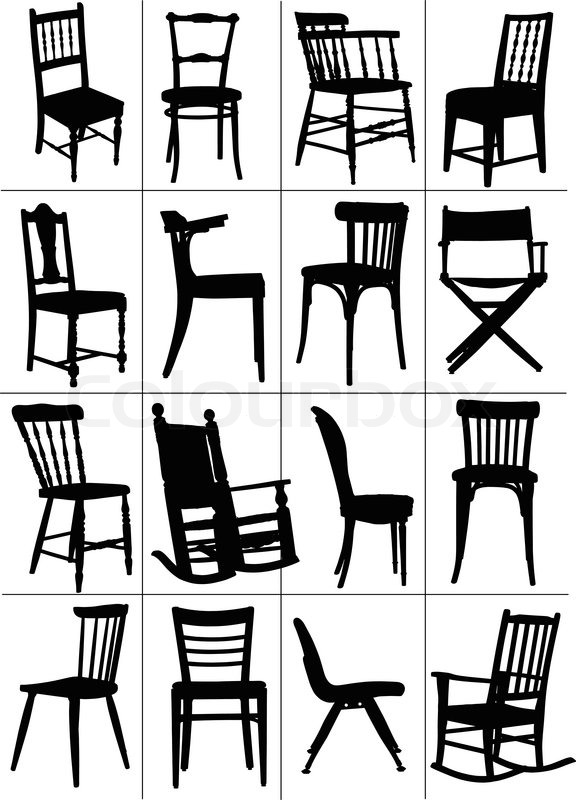 Big set of home chair silhouettes Vector illustration Stock
