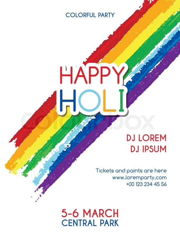 Happy holi party vector invitation poster banner flyer design for happy holi party vector invitation poster banner flyer design for indian festival of colours stock vector colourbox stopboris Images