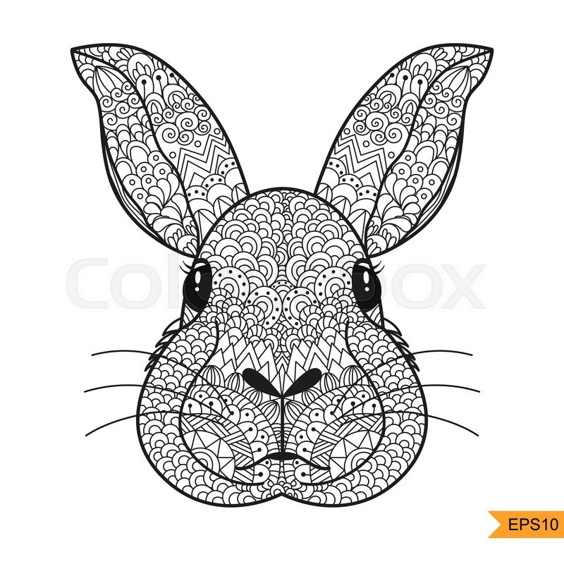 Zentangle Rabbit Head For Adult Antistress Coloring Page