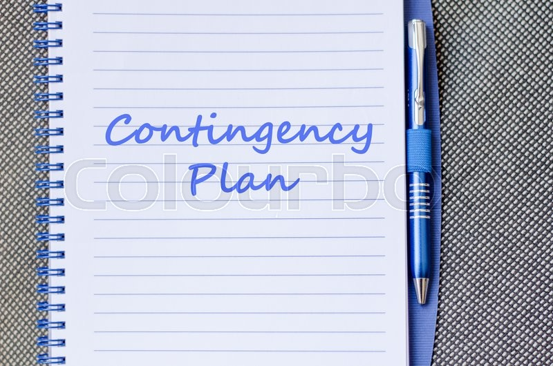 Contingency plan text concept write on notebook with pen, stock photo