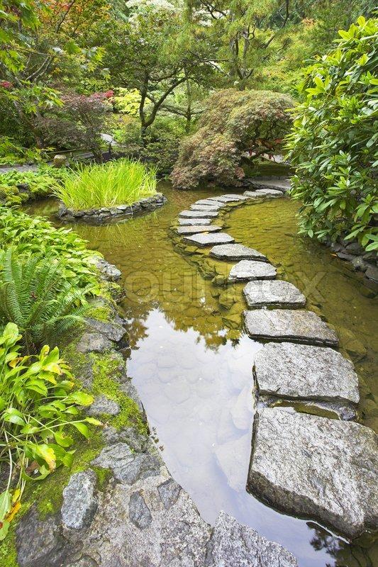 ein weg aus der nassen steine durch einen teich im japanischen garten angelegt stockfoto. Black Bedroom Furniture Sets. Home Design Ideas