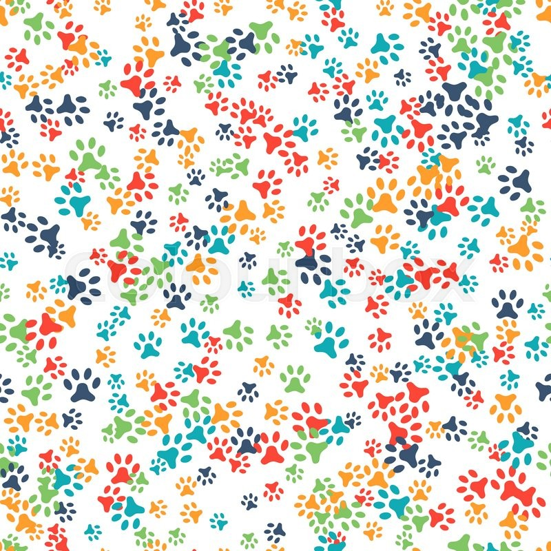 Vector seamless pattern with cat or dog footprints. Can be used for ...