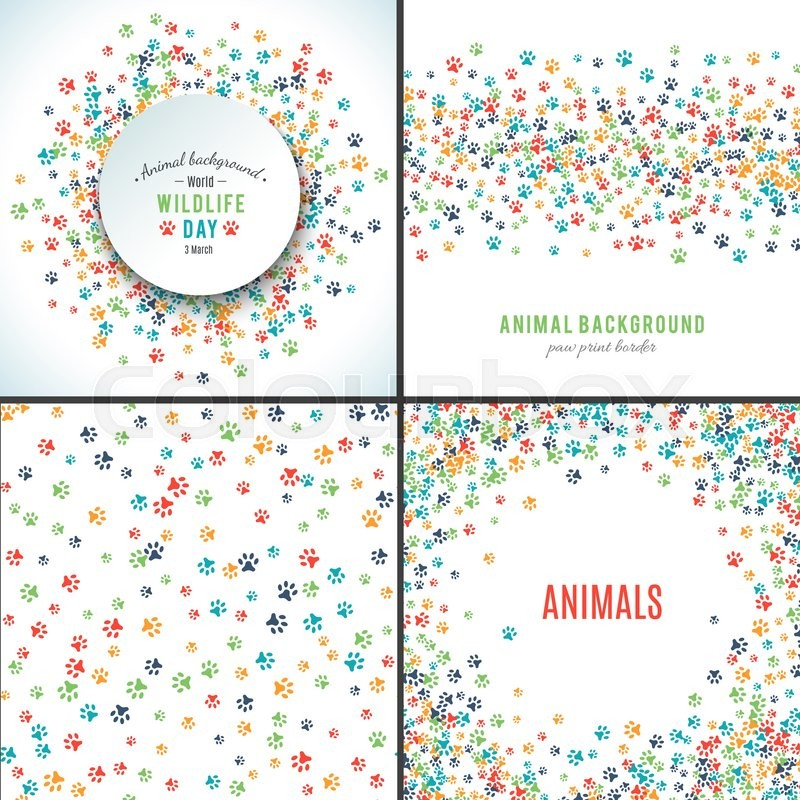 Background with paw prints. Set of patterns with animal paws. Free ...