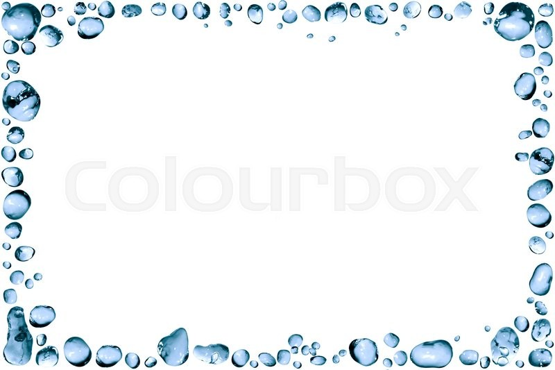 Nice frame made from lot of blue water drops | Stock Photo | Colourbox