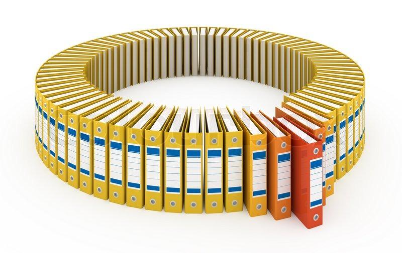 Organized office folders isolated on white | Stock Photo | Colourbox