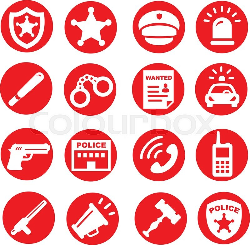 Police Icons Set Red Buttons Vector Symbols Stock Vector Colourbox
