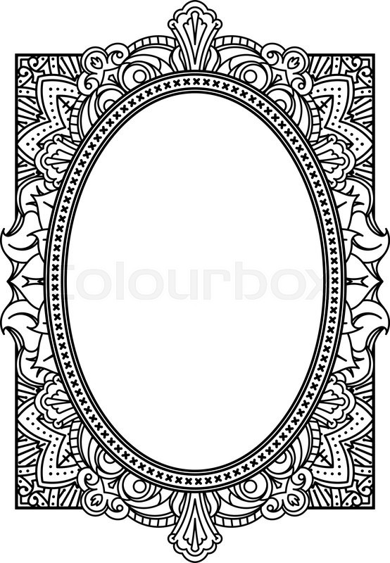Rich decorated oval frame pattern. Vector decorative background in ...