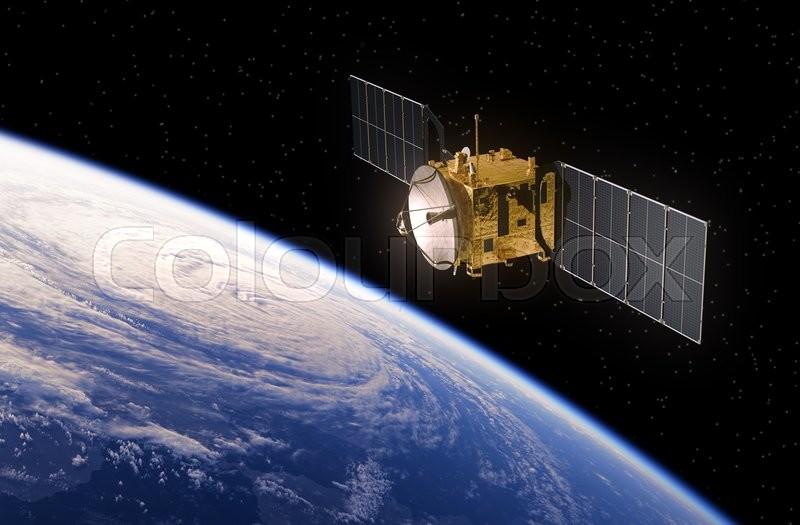 communication satellite orbiting earth realistic 3d scene stock
