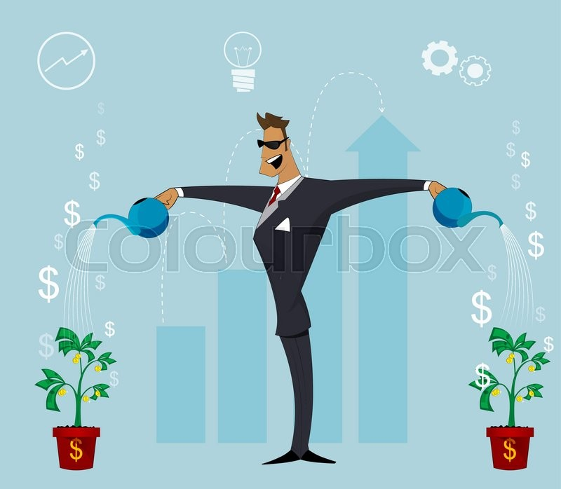 Happy business person watering growing plant with money flower growing business concept - Successful flower growing business ...