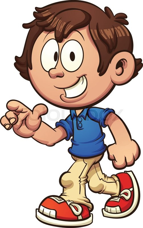 cartoon boy walking and pointing vector clip art illustration with