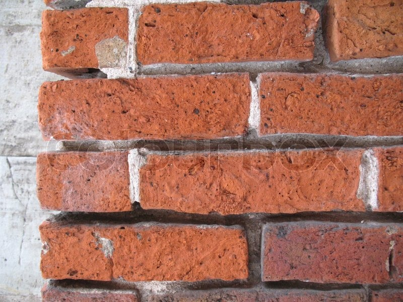 Ancient Weathered Brick Wall Close Up Background Stock