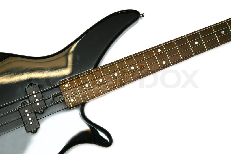 Fragment Of Black Bass Electric Guitar With Four Strings Isolated