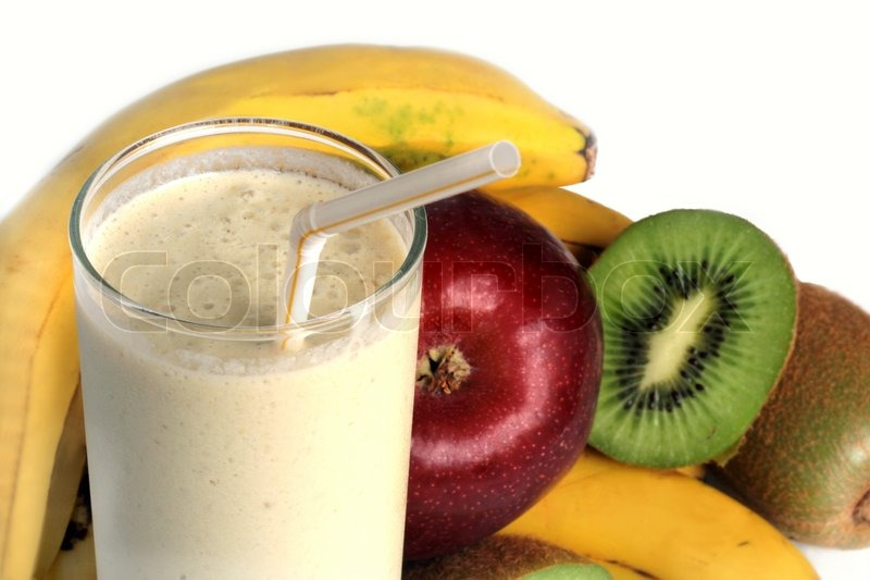 Stock image of 'Milkshake and Fresh fruits'