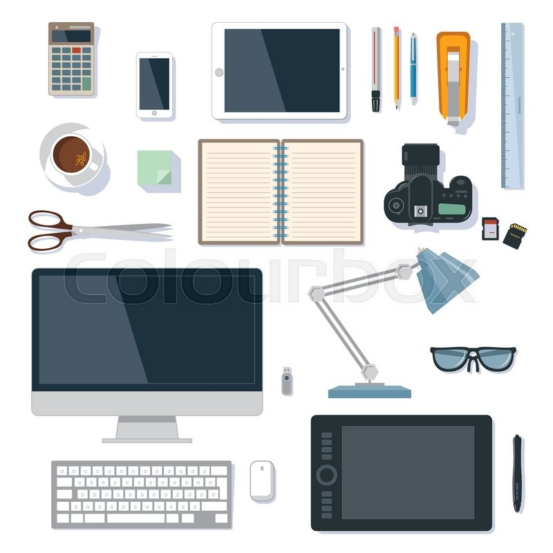 Modern And Traditional Office Supplies Vector Collection