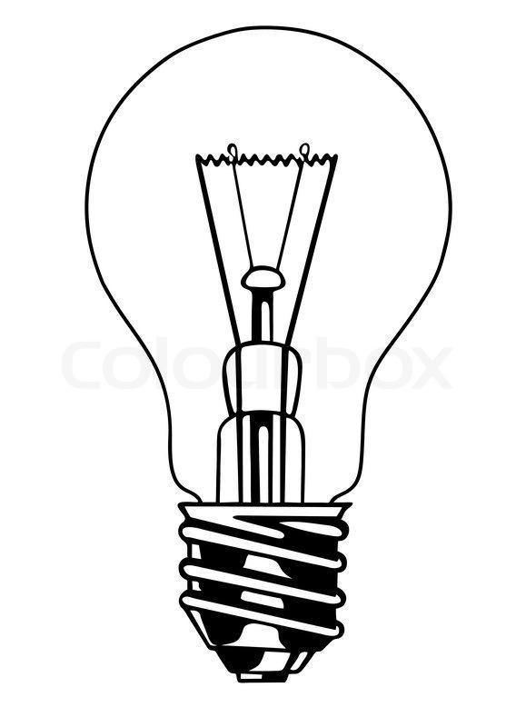 Line Drawing Light Bulb : Vektor glühbirne auf weißem hintergrund stock