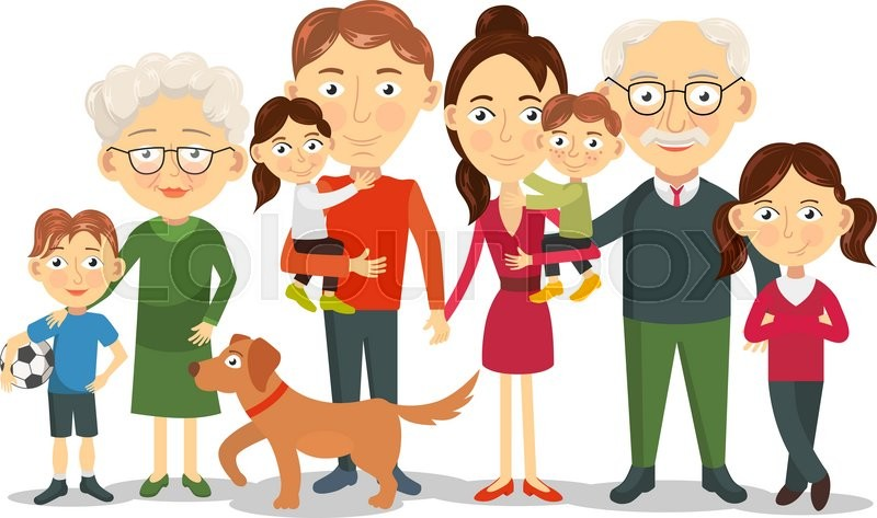 big and happy family portrait with children parents grandparents rh colourbox com big and small family clipart big family clipart images