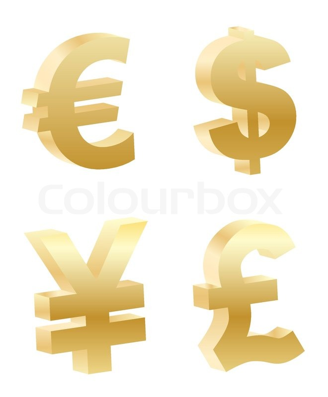 Vector 3d Money Symbols Stock Vector Colourbox