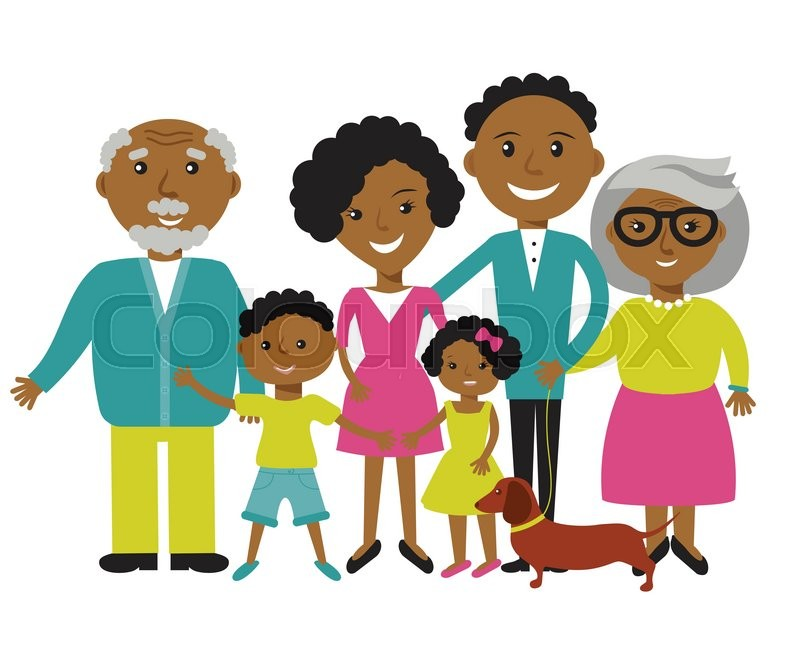 happy african american family of four members  parents