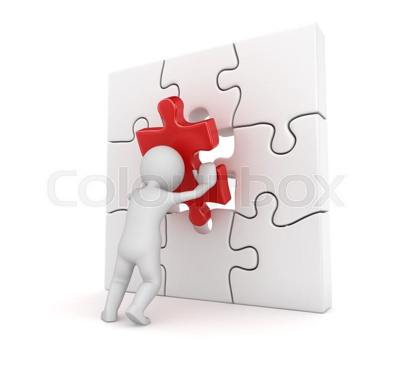 3d White Man Putting Red Puzzle Piece Render And Computer Generated Image