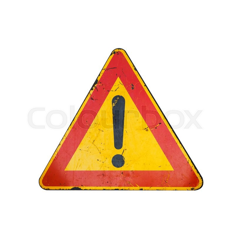 Bright Red And Yellow Triangle Warning Stock Photo Colourbox