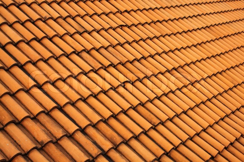 A red tile roof with repeating patterns stock photo for Roof tile patterns