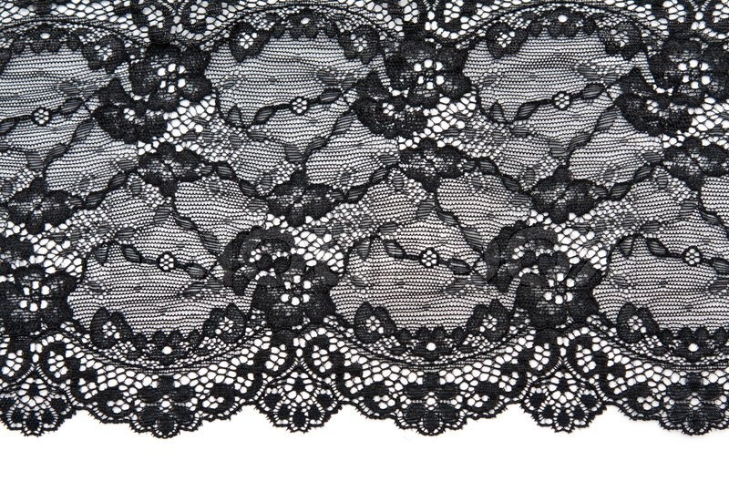 Schwarze Tapete Mit Wei?em Muster : Stock Bild von 'Schwarze Spitze mit Muster mit Form Blume auf wei?em