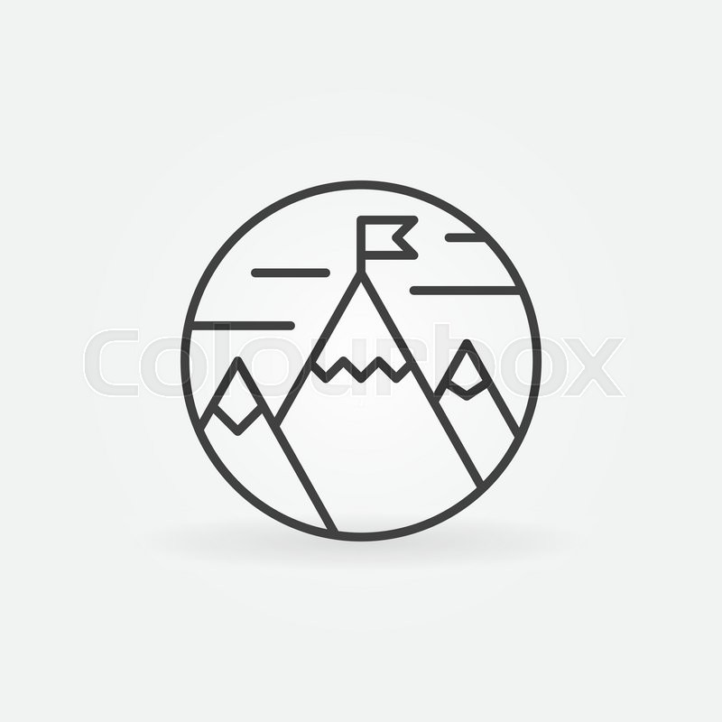 Achievement Logo goals achievement icon - vector flag on mountain outline symbol