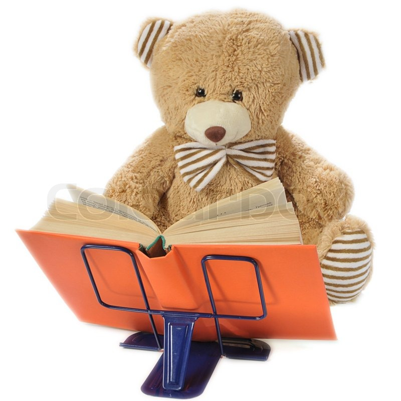 Stock image of 'Image of a stuffed bear reading a book isolated on white'