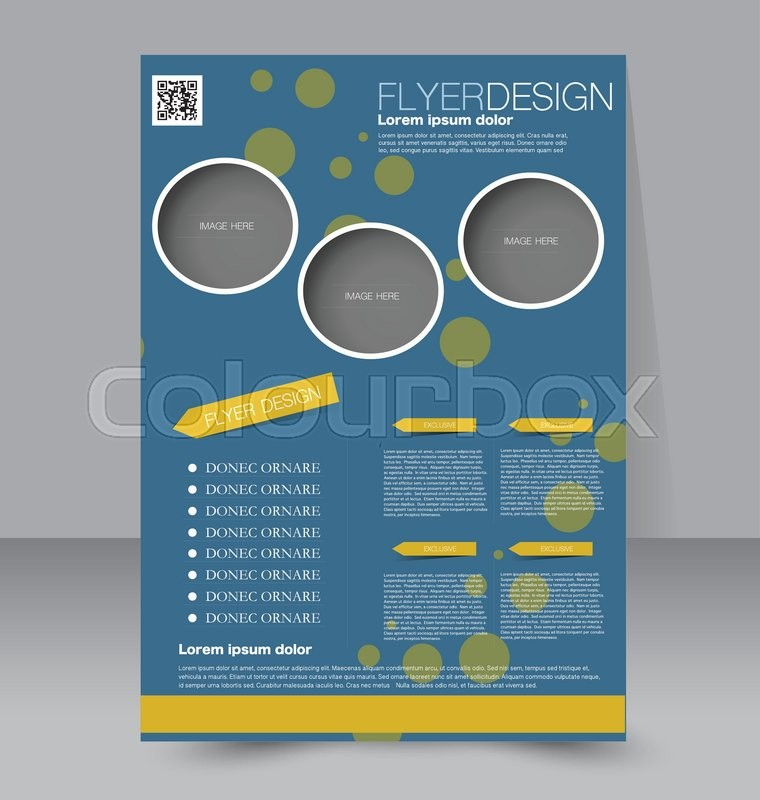 flyer template editable a4 poster for business education presentation website magazine cover blue and yellow color vector