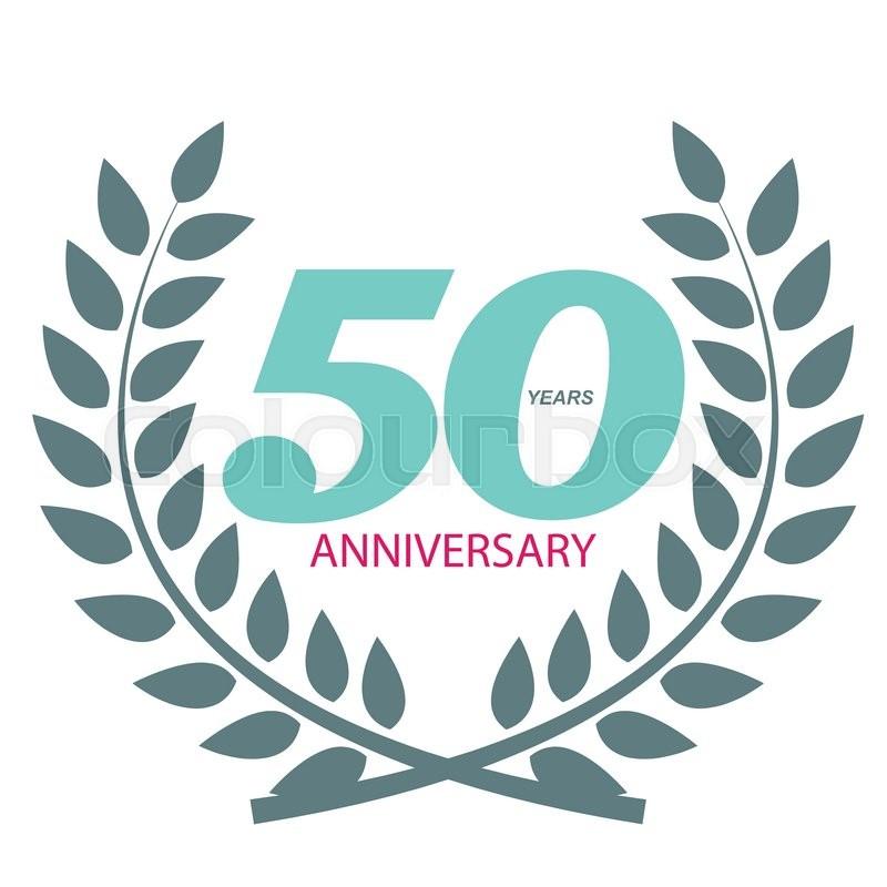 Template Logo 50 Anniversary in Laurel Wreath Vector Illustration ...