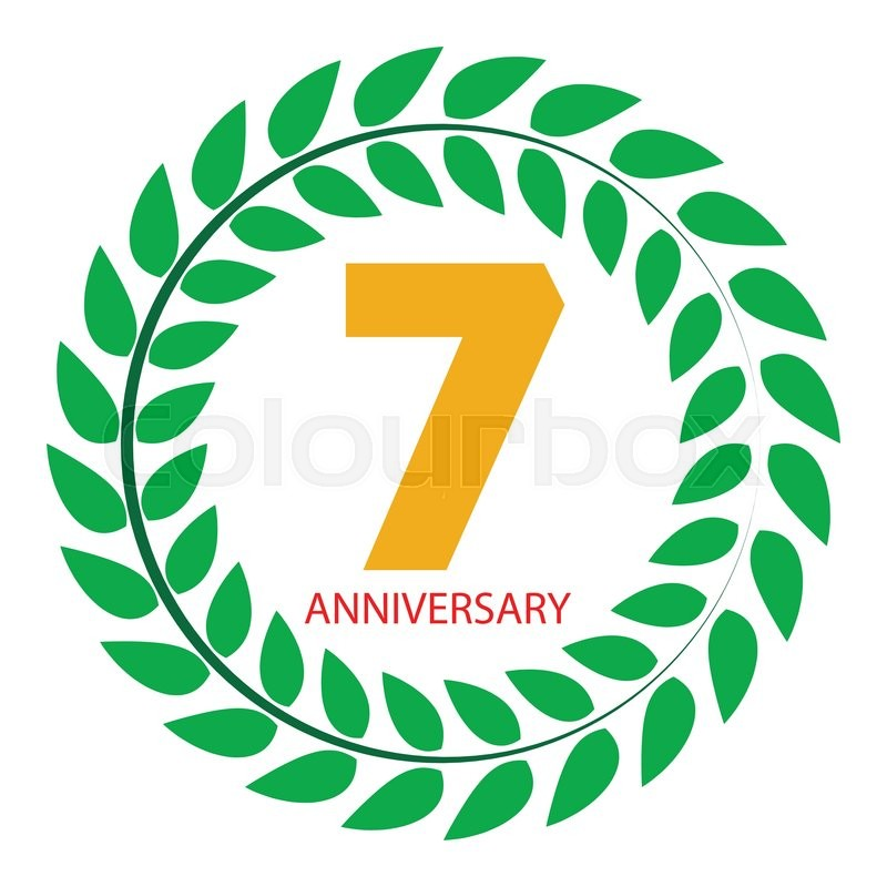 Template Logo 7 Anniversary in Laurel Wreath Vector Illustration ...