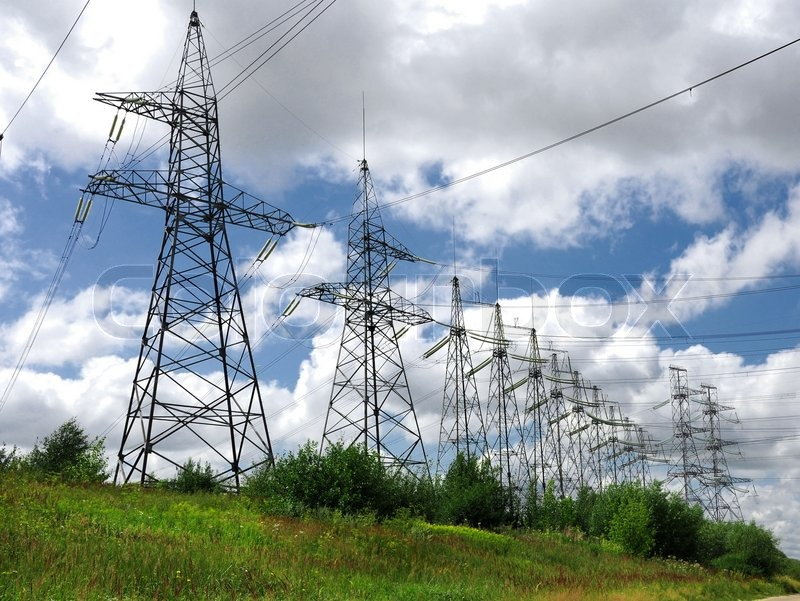 Electric power lines on a blue sky background Electrical