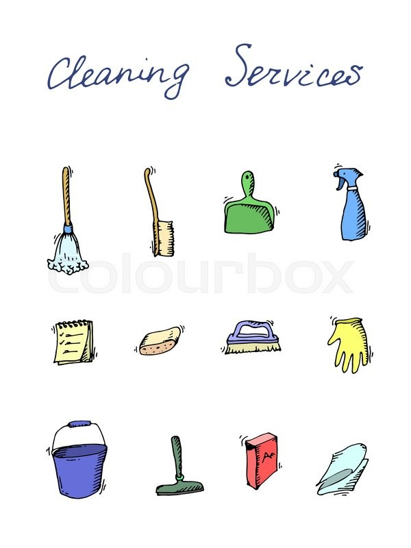 Hand Drawn Vector Cleaning Service Icons Set Clean Symbols Tools Detergent Broom Sponge Mop Dust Pan Brush Bleach Duster Washing Liquid