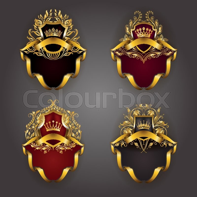 Set of golden royal shields for graphic design on background. Old ...