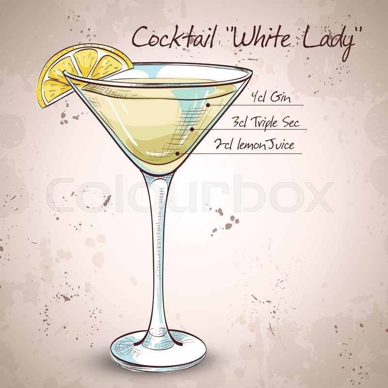 White Lady Cocktail, Consists Of Gene, Triple Sec
