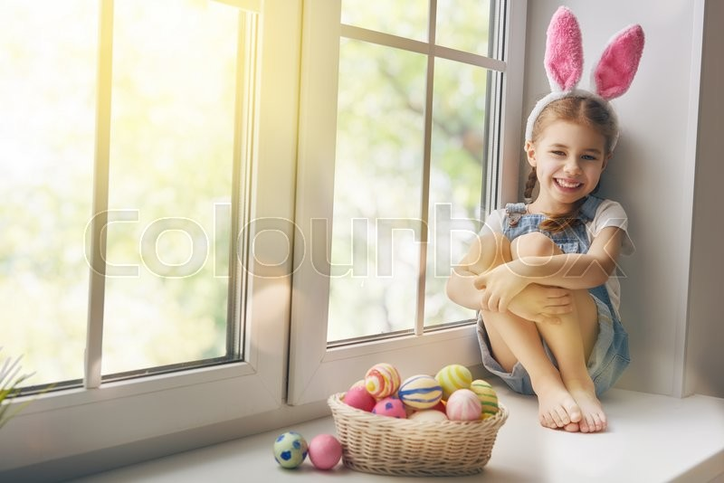 Happy Easter Cute Little Child Girl Wearing Bunny Ears On