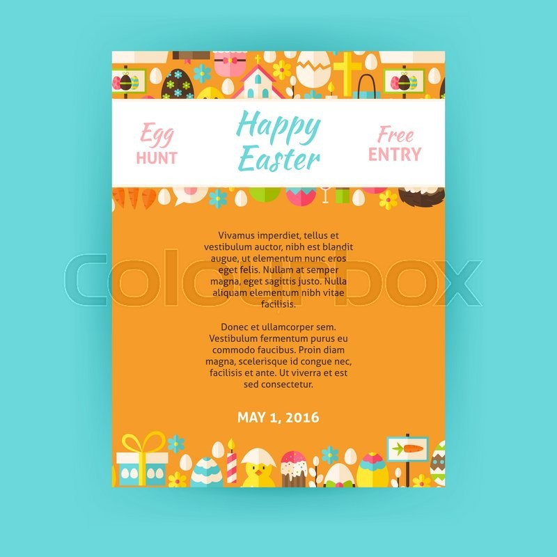 Happy easter invitation template poster flat design vector happy easter invitation template poster flat design vector illustration of brand identity for spring religious holiday promotion stopboris Image collections