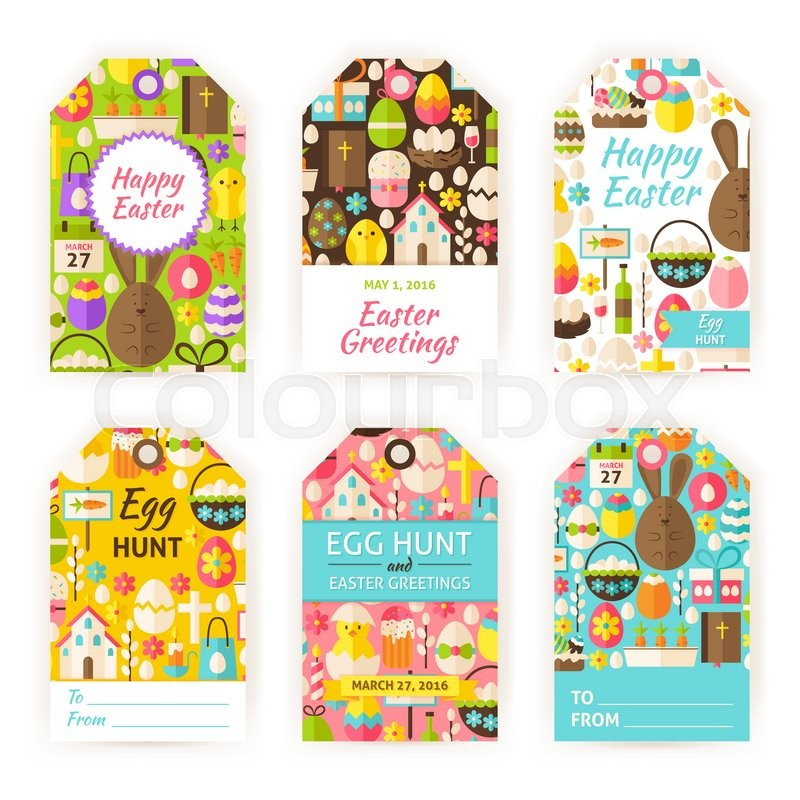 Happy easter gift tag template set flat vector illustration of happy easter gift tag template set flat vector illustration of spring christian labels printable holiday colorful badge design stock vector colourbox negle Choice Image