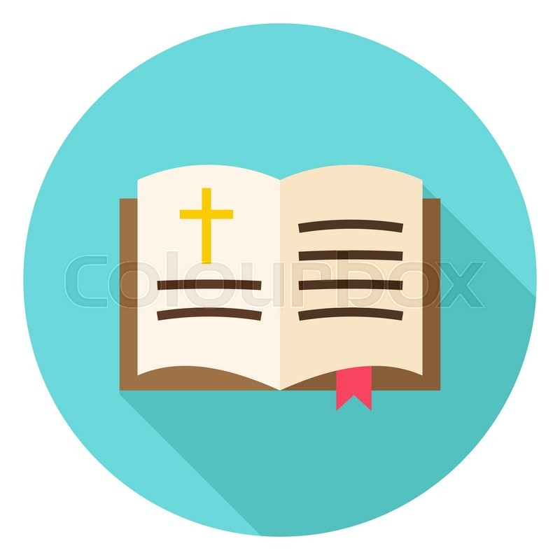 Open Bible Book With Bookmark And Cross Circle Icon Flat Design
