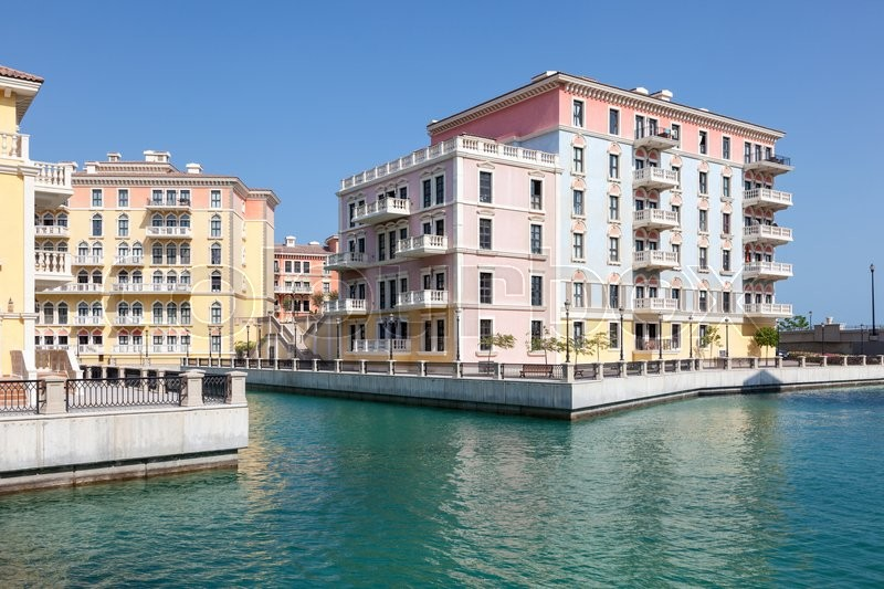 Waterfront buildings at the Qanat Quartier Urbanization with Italian