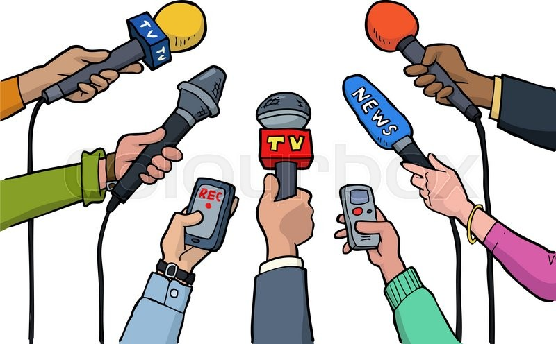 Cartoon Media Interview On A White Background Vector